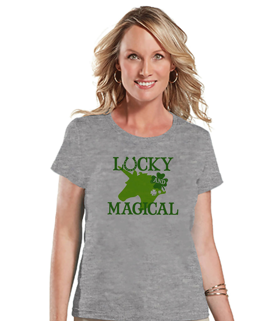 Women's Unicorn Shirt - Lucky & Magical St Patrick's Day - Irish Unicorn T-shirt - Womens Grey T-shirt - Green Lucky Unicorn - Gift for Her