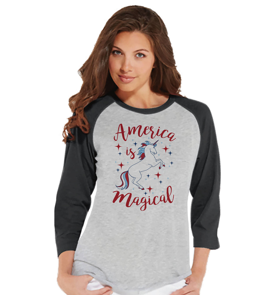 Women's Unicorn Shirt - America is Magical - 4th of July Shirt - Unicorn T-shirt - Womens Grey Raglan Tee - Patriotic Unicorn - Gift for Her