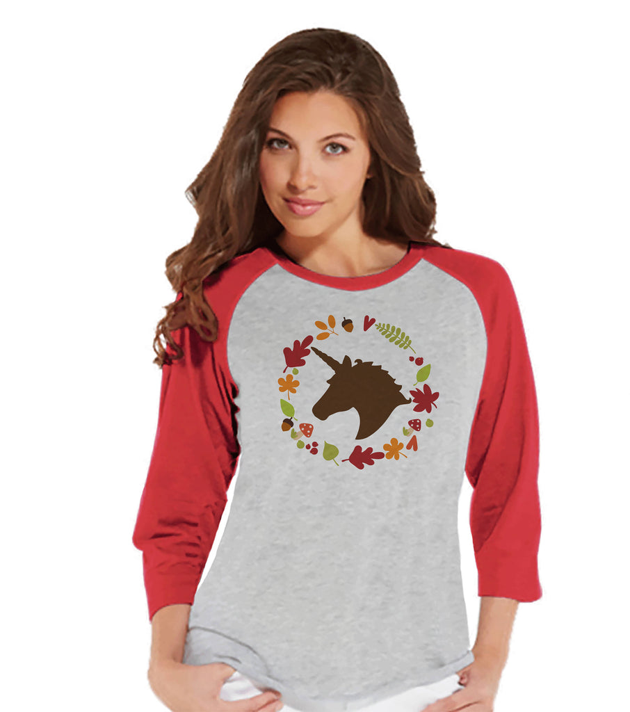Women's Unicorn Shirt - Fall Leaves Wreath Unicorn - Autumn Unicorn T-shirt - Womens Red Raglan - Cute Fall Unicorn Shirt - Gift for Her