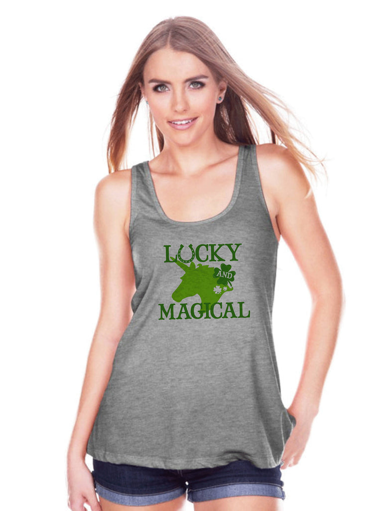 Women's Unicorn Tank - Lucky & Magical St Patrick's Day - Irish Unicorn Tank Top - Womens Grey Tank Top - Green Lucky Unicorn - Gift for Her