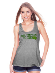 Women's Unicorn Shirt - 99% Unicorn - St Patrick's Day Irish Unicorn Tank - Womens Grey Tank Top - Green Lucky Unicorn - Gift for Her