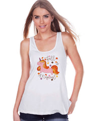 Women's Unicorn Tank Top - Fall is Magical - Autumn Unicorn Tank - Womens White Tank Top - Cute Fall Unicorn Shirt - Gift for Her