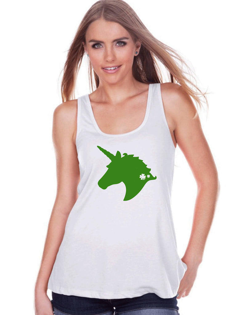 Women's Unicorn Tank Top - St Patrick's Day Irish Unicorn Shirt - Womens White Tank Top - Green Unicorn Head - Lucky Unicorn - Gift for Her