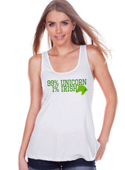 Women's Unicorn Shirt - 99% Unicorn - St Patrick's Day Irish Unicorn Tank - Womens White Tank Top - Green Lucky Unicorn - Gift for Her