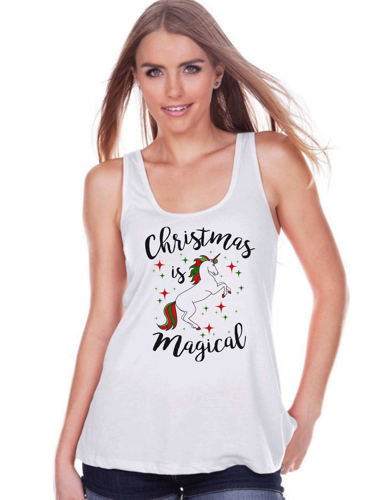 Women's Unicorn Tank - Christmas is Magical - Merry Christmas Unicorn Tank Top - Womens White Tank Top - Xmas Unicorn - Gift for Her - Stars