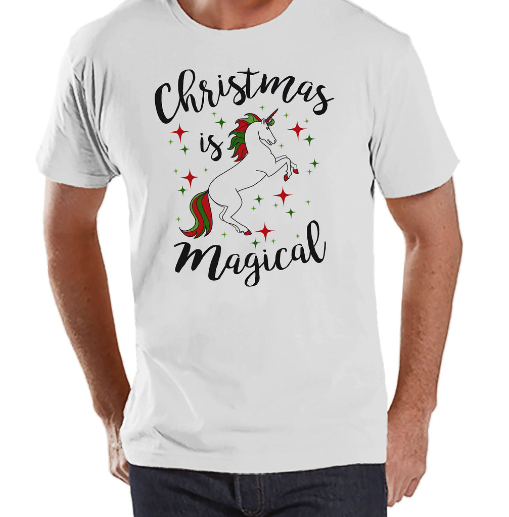 Men's Unicorn Shirt - Christmas is Magical - Mens Christmas Unicorn Shirts - Xmas Unicorn - White Shirt - Gift for Him - Christmas Unicorn