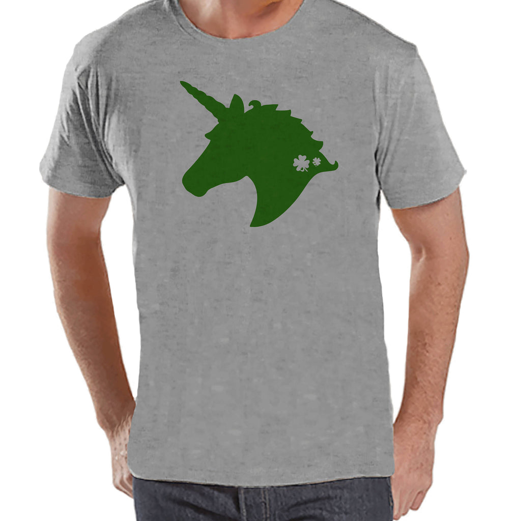 Men's Unicorn Shirt - Green Unicorn Head - Mens Funny Unicorn Shirts - Irish Unicorn - Grey Shirt - Gift for Him - St Patrick Unicorn Shirt