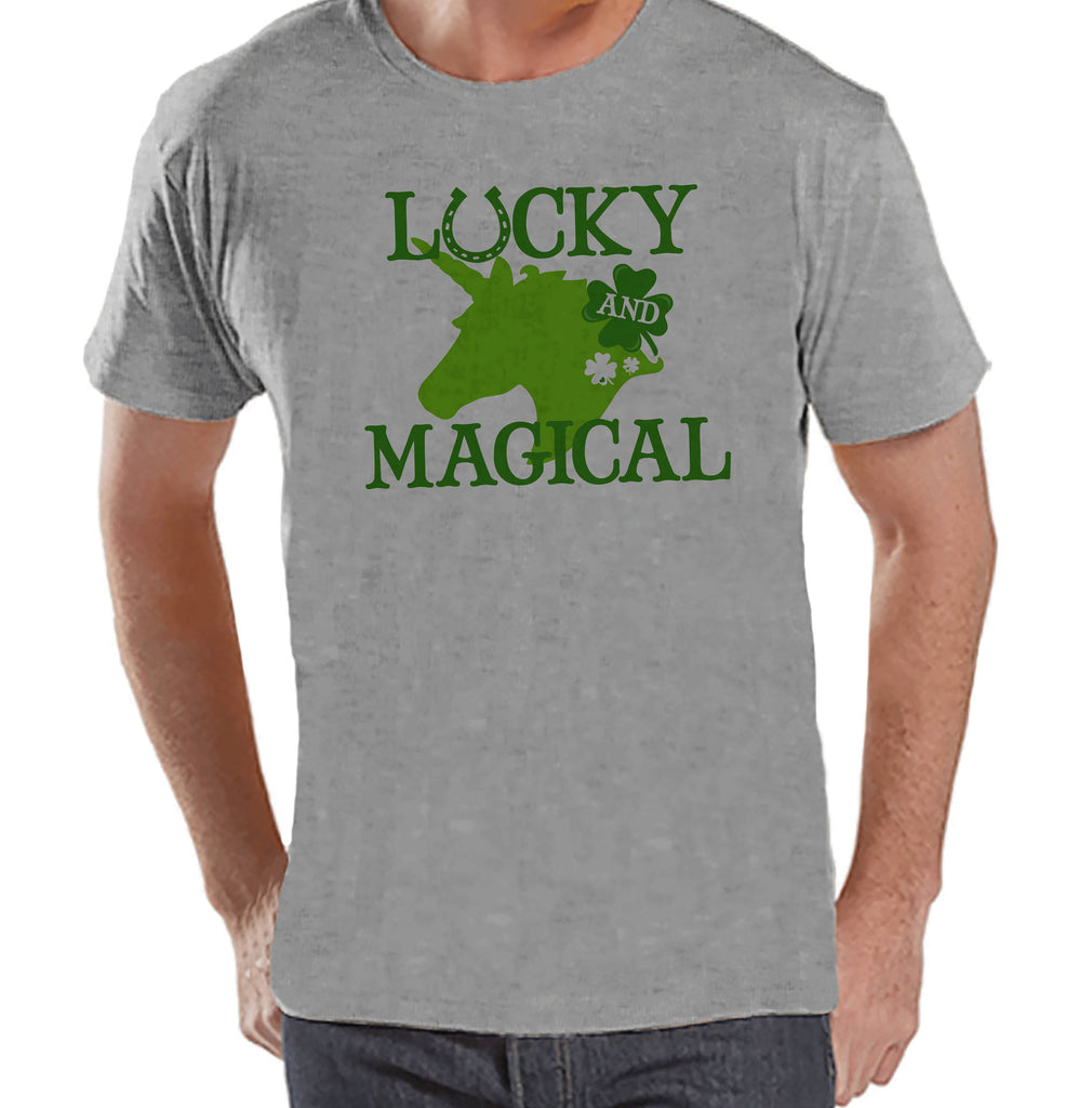 Men's Unicorn Shirt - Lucky & Magical - Mens Funny Unicorn Shirts - Irish Unicorn - Grey Tshirt - Gift for Him - St Patrick's Day Unicorn