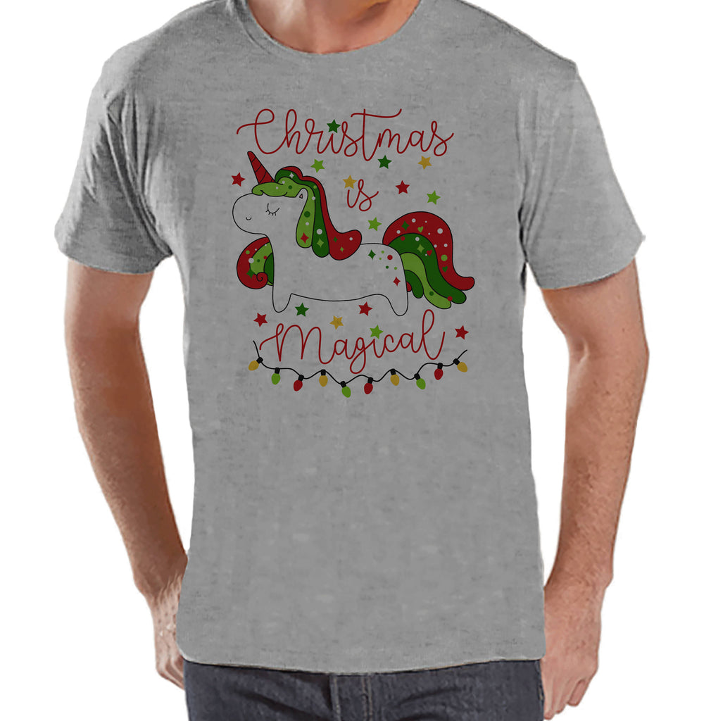 Men's Unicorn Shirt - Christmas is Magical - Mens Christmas Unicorn Shirts - Xmas Unicorn - Grey Tshirt - Gift for Him - Christmas Unicorn
