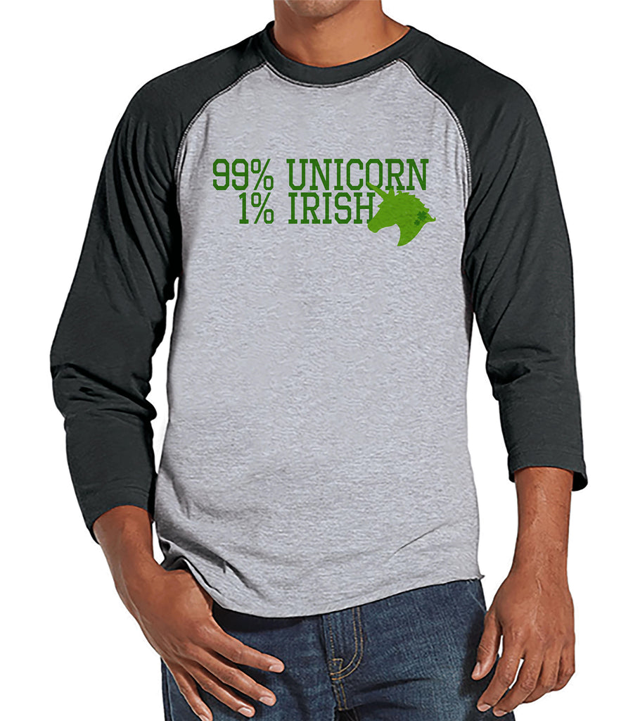 Men's Unicorn Shirt - 99% Unicorn - Mens Funny Unicorn Shirts - Irish Unicorn - Grey Raglan - Gift for Him - St Patrick's Day Unicorn Shirt