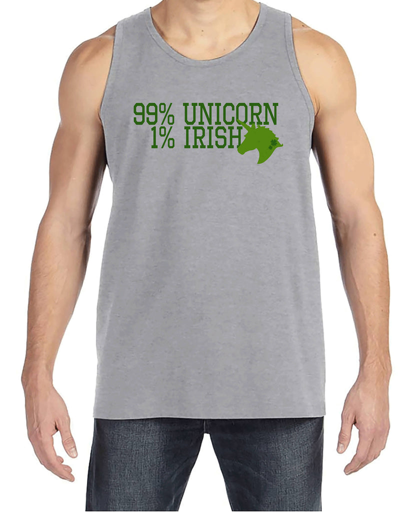 Men's Unicorn Shirt - 99% Unicorn - Mens Funny Unicorn Shirts - Irish Unicorn - Grey Tank Top - Gift for Him - St Patrick's Unicorn Shirt
