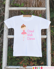 Crawl Walk Dance Ballerina Bodysuit - Ballerina Onepiece Bodysuit - Ballerina Outfit - Girls Romper - Dancer Baby Shower Gift
