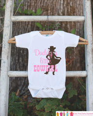 Daddy's Little Cowgirl Bodysuit For Baby Girls - Pink and Brown Western Onepiece - Horse Novelty Onepiece Baby Shower Gift for New Baby Girl
