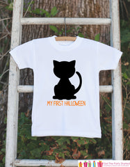 My First Halloween Black Cat Shirt - 1st Halloween Onepiece - Black Cat Silhouette - Baby Boy or Baby Girl First Halloween Outfit Shirt