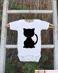 Black Cat Shirt - Cat Halloween Onepiece - Black Cat Silhouette - Baby Boy or Baby Girl Halloween Outfit - Holiday Shirt