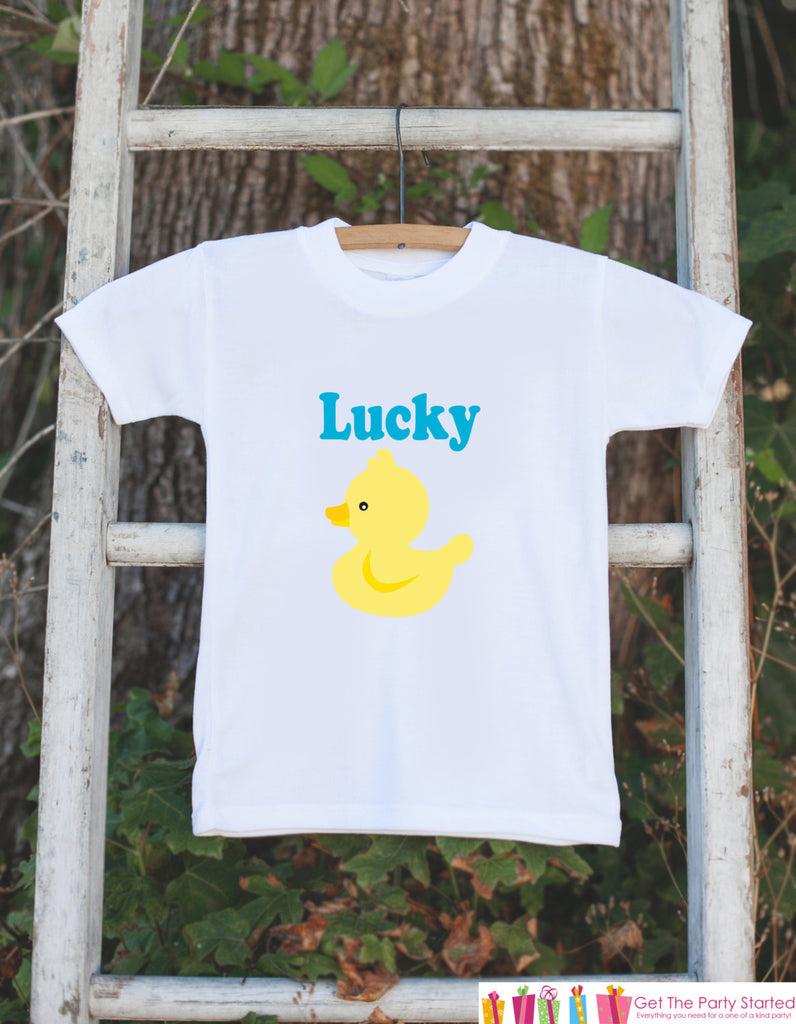 Lucky Duck Outfit - Novelty Baby Shower Gift - Baby Humerous Onepiece - Yellow Rubber Duck Shirt - Ducky Bodysuit - Funny Onepiece Shirt