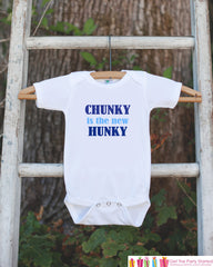 Chunky Is The New Hunky Onepiece Bodysuit - Humorous Bodysuit Makes a Great Baby Shower Gift for a New Baby Boy - Funny Bodysuit For Newborn - 7 ate 9 Apparel