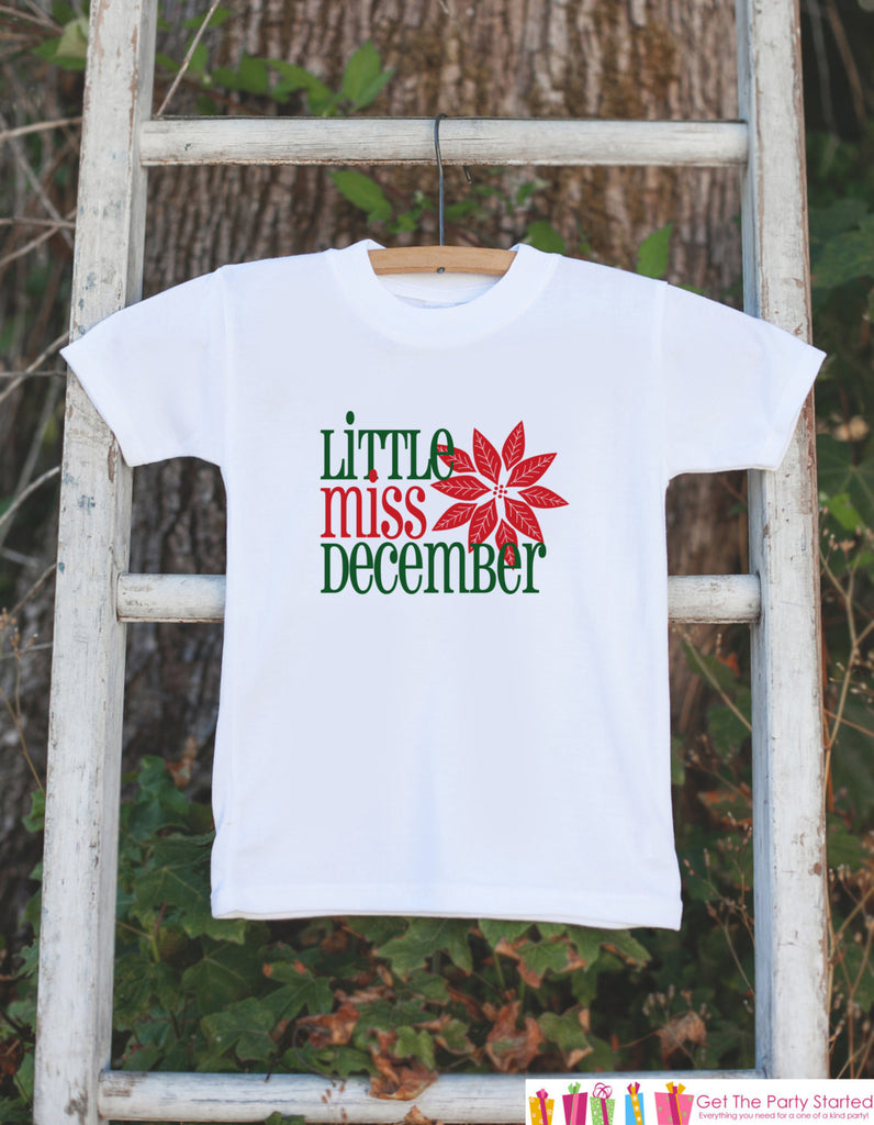 Little Miss December Onepiece Bodysuit - Take Home Outfit For Newborn Baby Girls - Winter Poinsettia Infant Going Home Hospital Onepiece - 7 ate 9 Apparel
