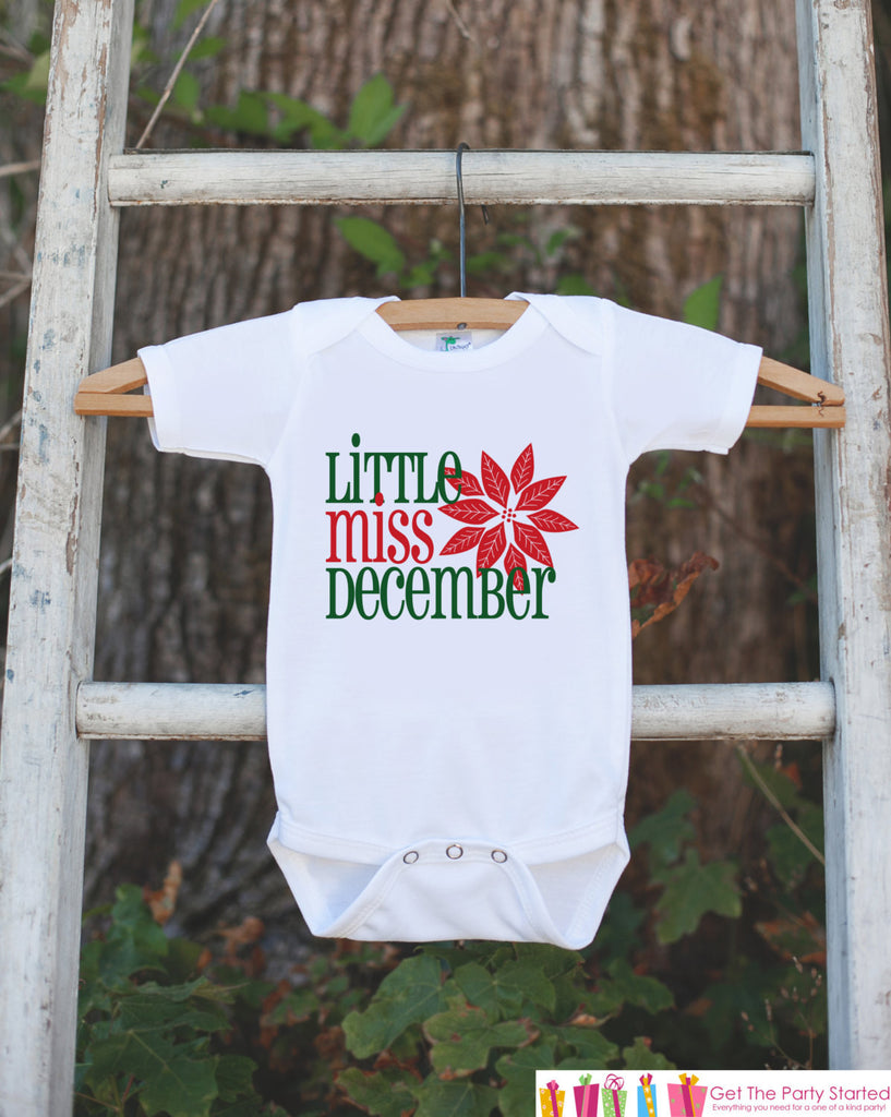 Little Miss December Onepiece Bodysuit Take Home Outfit For Newborn Baby Girls Winter Poinsettia Infant Going Home Hospital Onepiece