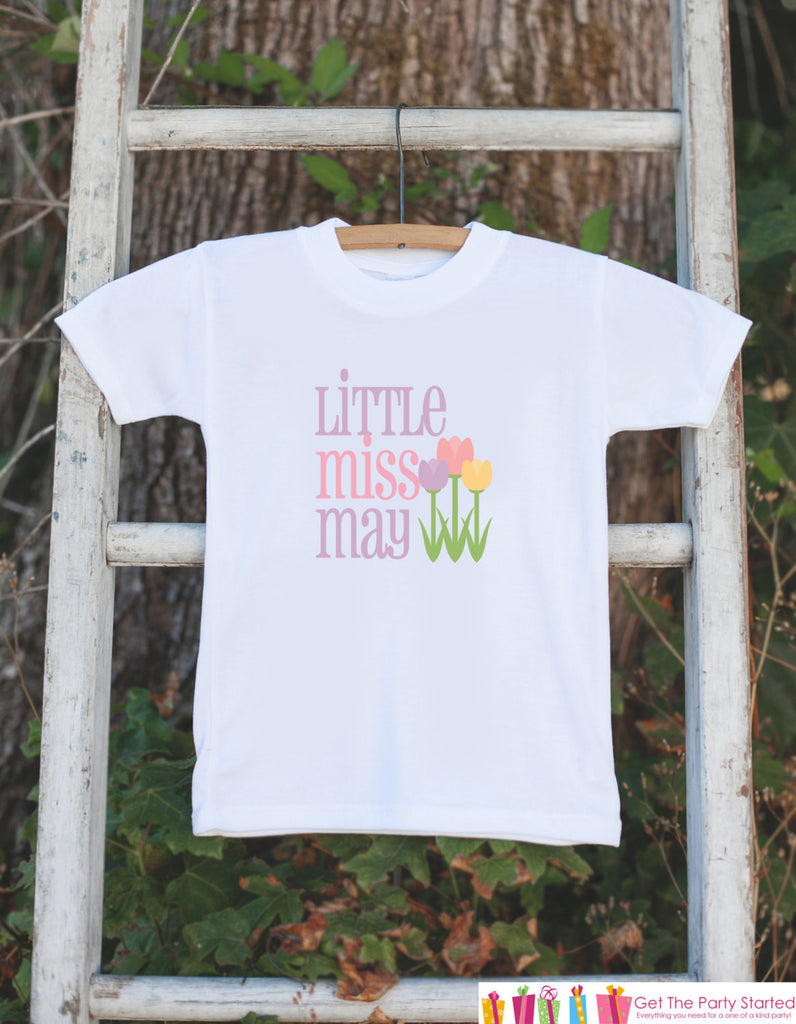 Little Miss May Onepiece Bodysuit - Take Home Outfit For Newborn Baby Girls - Pastel Spring Flowers Infant Going Home Hospital Onepiece - 7 ate 9 Apparel