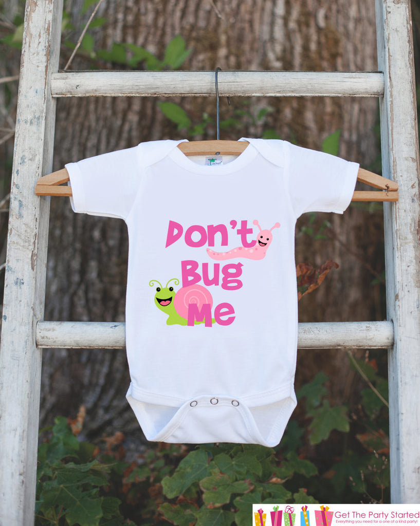 Funny Baby Boy Outfit - Novelty Baby Shower Gift - Humerous Don't Bug Me Baby Onepiece - Pink and Green Bugs Bodysuit - Funny Kids Shirt - 7 ate 9 Apparel