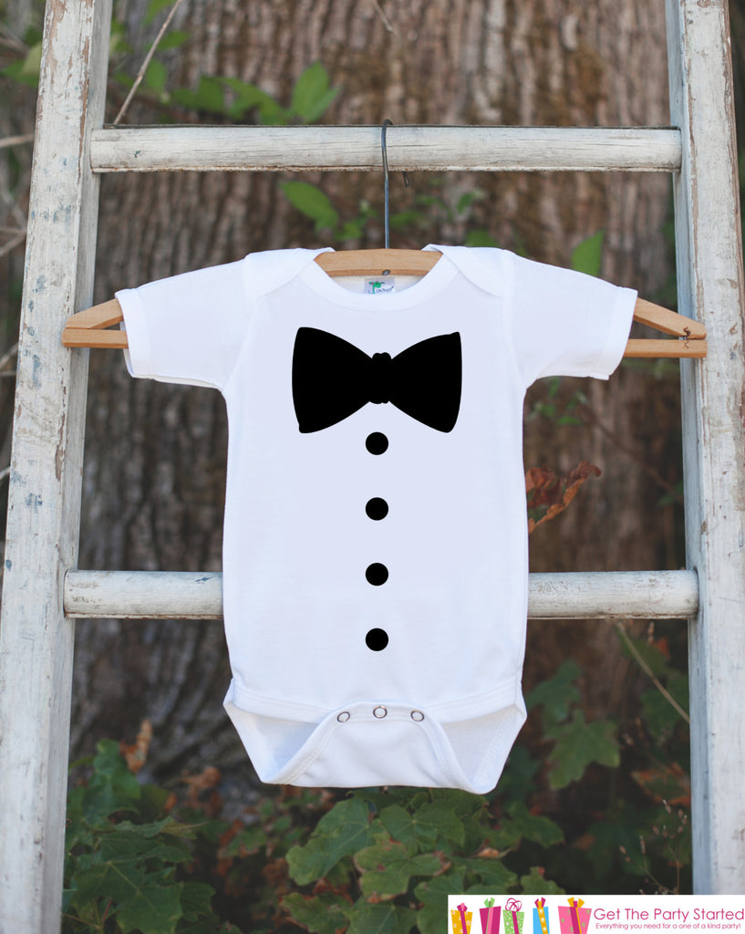 Tuxedo Onepiece for Infant Baby Boys - Great for Church, Weddings, Funerals or Special Events - Ring Bearer Tux Shirt for Newborn Baby Boy