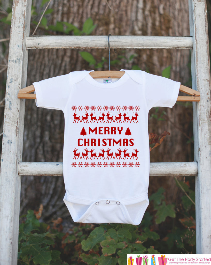 Merry Christmas Outfit - Christmas Onepiece - Baby's First Holiday Christmas Ugly Sweater Party - Newborn Christmas Bodysuit for Boy or Girl - 7 ate 9 Apparel