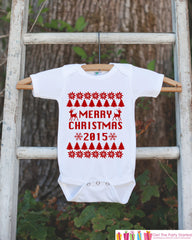 Merry Christmas Outfit - 2015 Christmas Onepiece - Baby Holiday Christmas Ugly Sweater Party - Newborn Christmas Bodysuit for Boy or Girl - 7 ate 9 Apparel