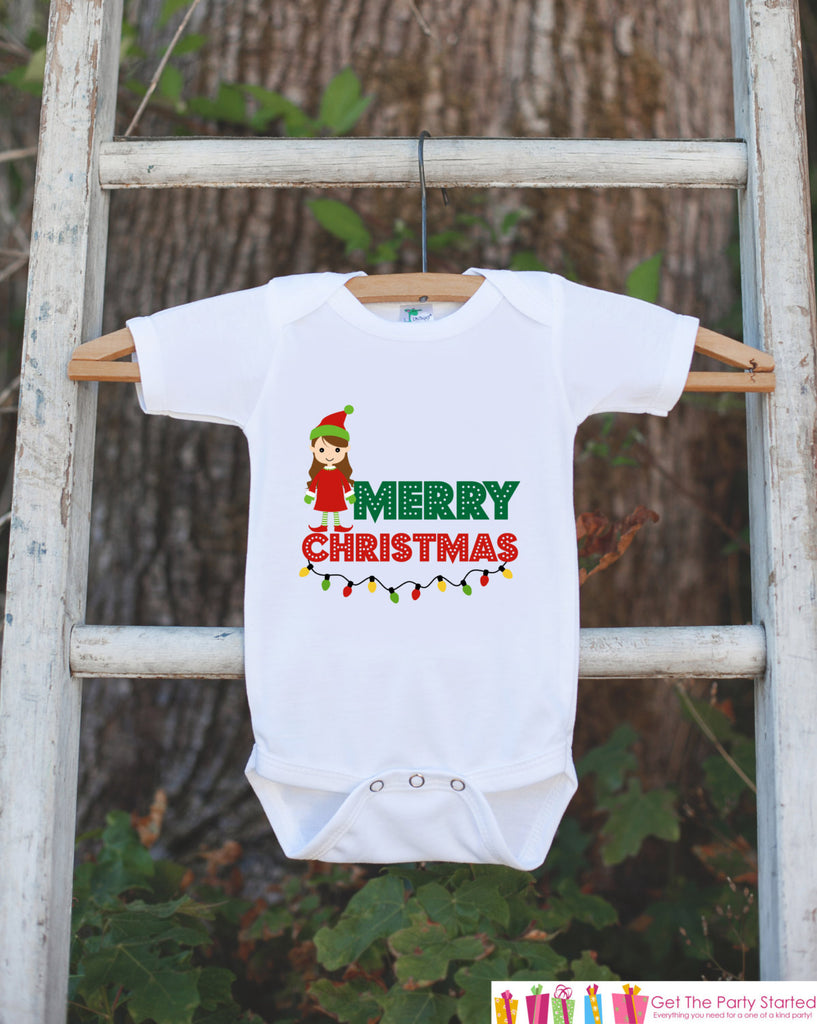 6aa988122 Merry Christmas Outfit - Elf Girl Christmas Onepiece - Baby's First  Christmas Elf Bodysuit - Santa Outfit - Baby Girl's Christmas Outfit