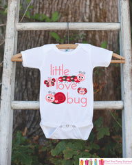 Novelty Little Love Bug Outfit For Baby Girls - Valentines Day Love Bug Onepiece - Pink & Red Onepiece - Baby Shower Gift for Infant Girl