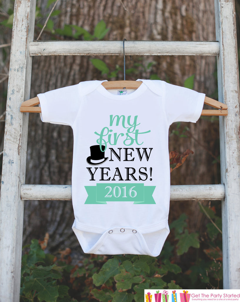 My First New Years Outfit - Happy New Years Eve Onepiece - Infant Keepsake Outfit - 1st New Year Bodysuit for Baby Girls or Baby Boys - 7 ate 9 Apparel