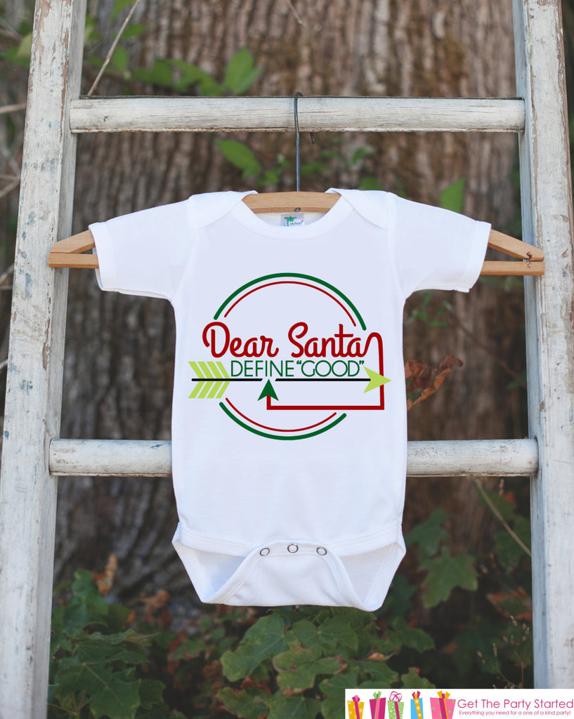 Novelty Christmas Outfit - Dear Santa, Define Good - Funny Christmas Onepiece - Santa Pictues Outfit - Humerous Christmas Outfit for Kids - 7 ate 9 Apparel