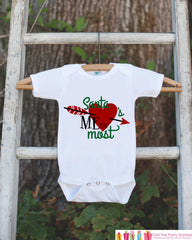 Novelty Christmas Outfit for Kids - Santa Loves Me The Most - Funny Christmas Onepiece - Humerous Christmas Bodysuit for Baby Boys or Girls - 7 ate 9 Apparel