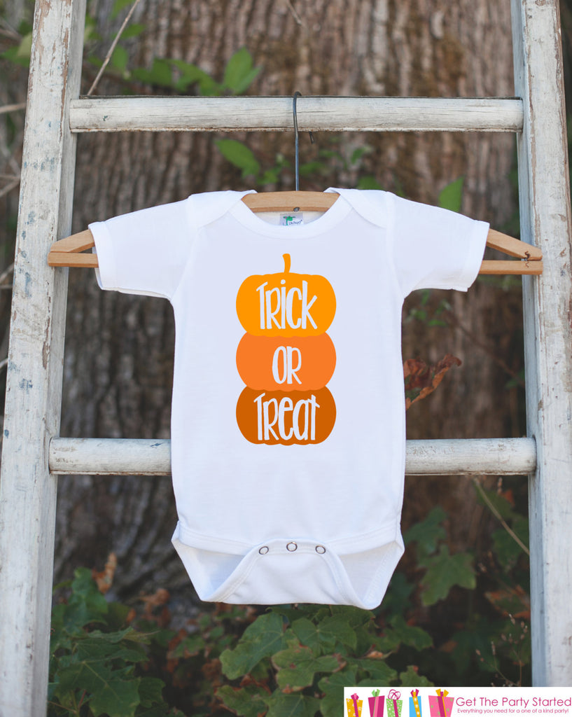 Trick or Treat Halloween Outfit - Halloween Onepiece with Pumpkins for Baby Boys or Girls - Halloween Costume For Kids - Halloween Shirt