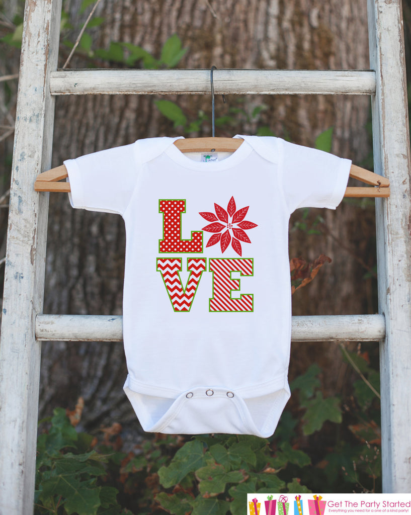 LOVE Holiday Outfit with Poinsettia - Novelty Christmas Shirt for Kids - Christmas Onepiece - Holiday Party Outfit - Kids Christmas Outfit
