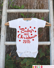 First Christmas Outfit - 2015 Christmas Onepiece - Baby's First Christmas with Stars for Baby Boy or Baby Girl - My 1st Christmas Outfit - 7 ate 9 Apparel