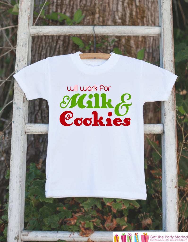 Novelty Christmas Outfit - Will Work for Milk & Cookies Onepiece - Humorous Christmas Shirt for Baby Boy or Baby Girl - Christmas Outfit - 7 ate 9 Apparel