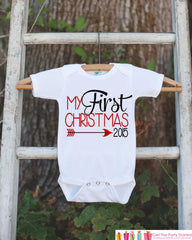 My First Christmas Outfit - 2015 Christmas Onepiece - Baby's First Christmas Arrow for Baby Boy or Baby Girl - My 1st Christmas Outfit - 7 ate 9 Apparel