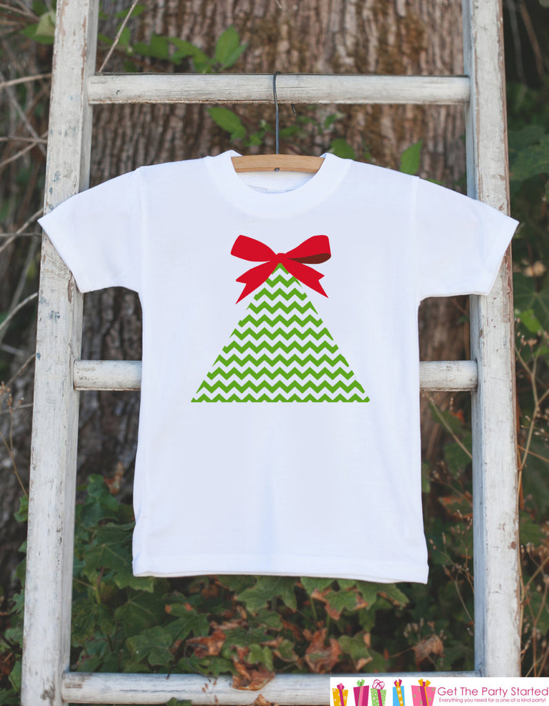 Girls Christmas Outfit - Chevron Christmas Tree Onepiece - Baby's First Christmas Bodysuit - Christmas Shirt - Girl Preppy Holiday Outfit
