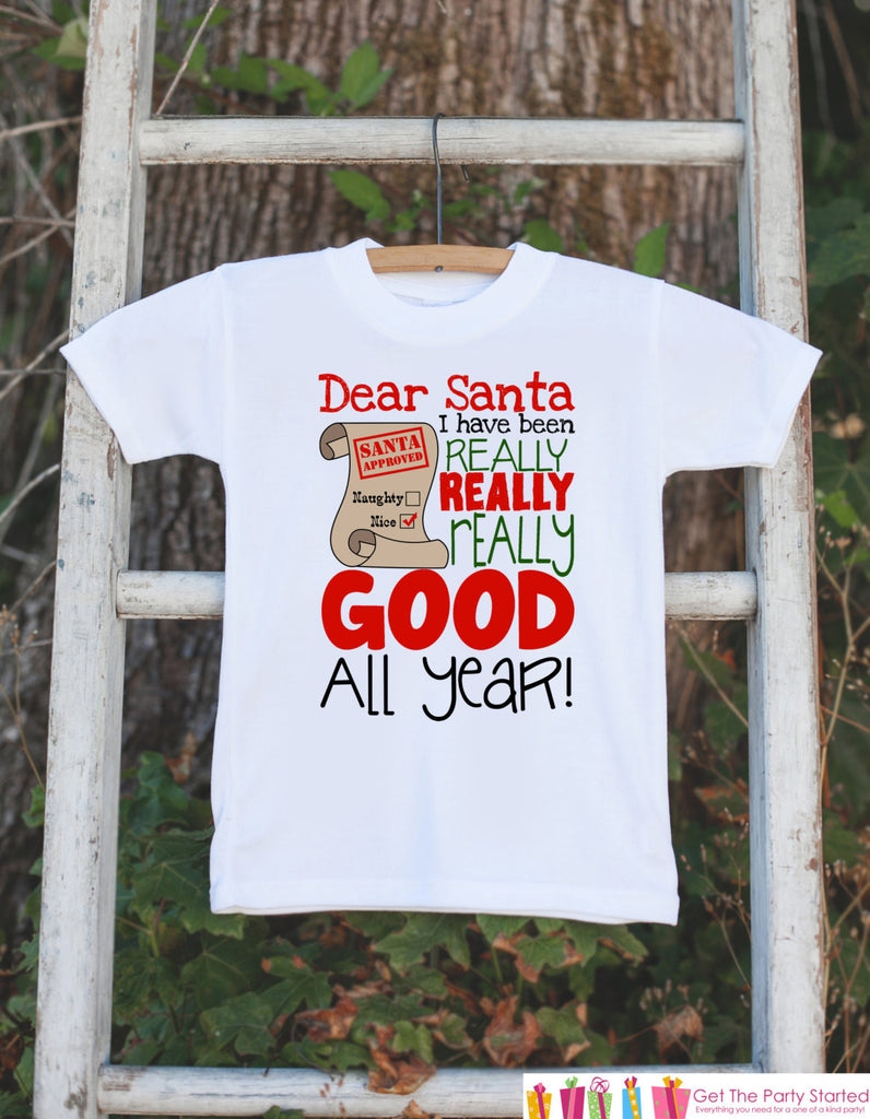 Kids Christmas Outfit - Santa I've Been Good All Year Christmas Onepiece - Christmas Shirt - Baby's First Christmas - Baby Boy or Girl - 7 ate 9 Apparel