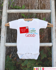 Kids Christmas Outfit - Too Late To Be Good Christmas Onepiece - Childrens Christmas Shirt for Baby Boy or Girl - Novelty Christmas Outfit - 7 ate 9 Apparel