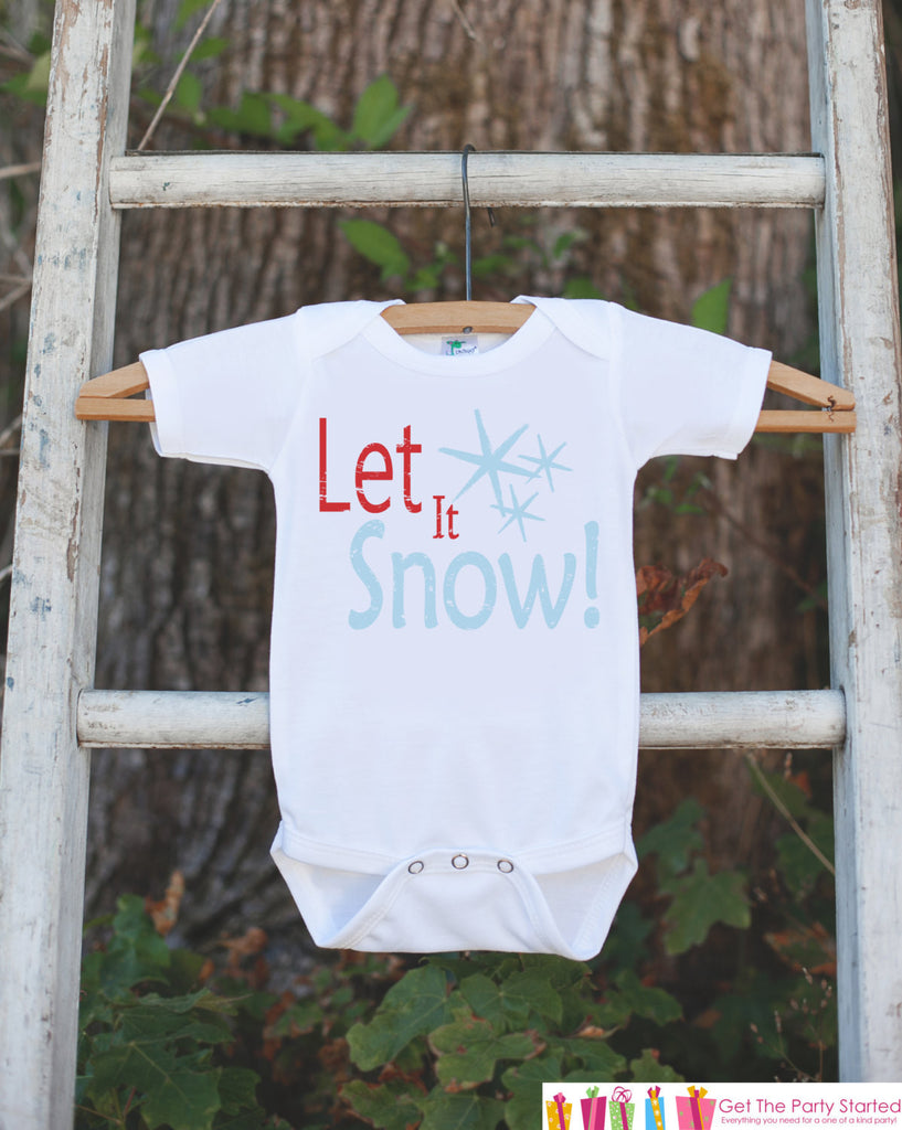 Kids Christmas Outfit - Let It Snow Christmas Onepiece - Kids Christmas Shirt for Baby Boy or Baby Girl - Snowflake Christmas Outfit - 7 ate 9 Apparel