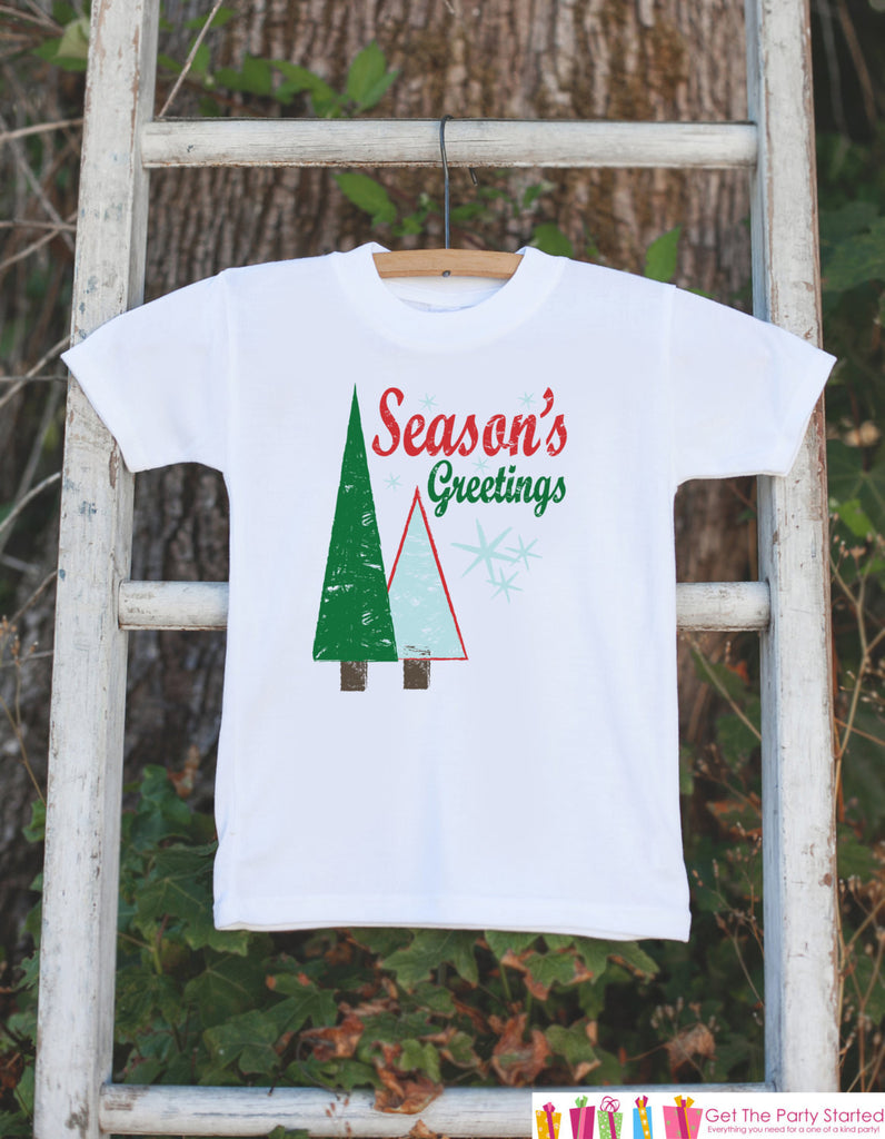 Kids Christmas Outfit - Season's Greetings Christmas Onepiece - Kids Christmas Shirt for Baby Boy or Baby Girl - Novelty Christmas Outfit - 7 ate 9 Apparel
