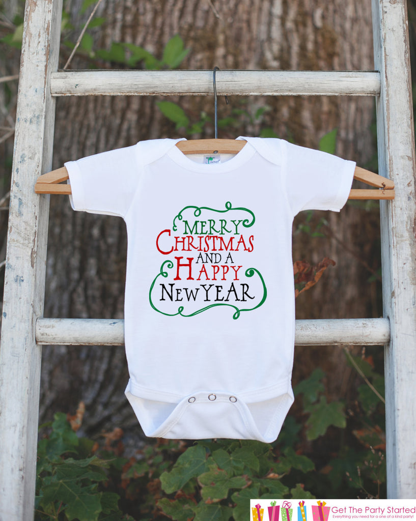 Kids Christmas Outfit - Merry Christmas Happy New Year Onepiece - Novelty Christmas Shirt for Baby Boy or Baby Girl - Kid Christmas Bodysuit - 7 ate 9 Apparel