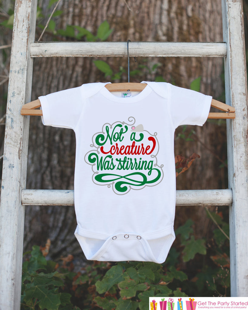 Novelty Christmas Outfit - Not a Creature Was Stirring Onepiece - Christmas Shirt for Baby Boy or Baby Girl - Kids Holiday Story Outfit - 7 ate 9 Apparel