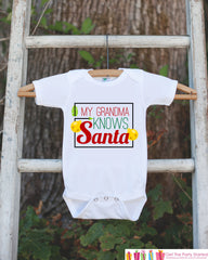 Novelty Christmas Outfit - My Grandma Knows Santa Onepiece - Christmas Shirt for Baby Boy or Baby Girl - Funny Humorous Christmas Outfit - 7 ate 9 Apparel