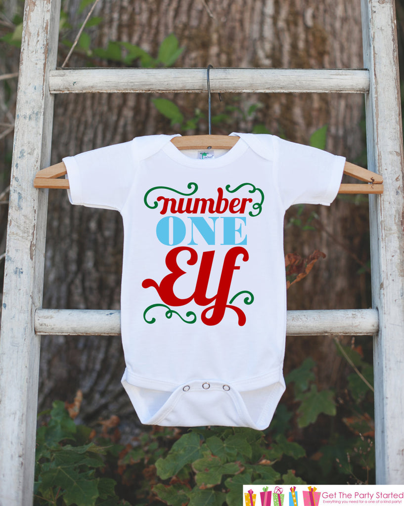 Novelty Kids Christmas Outfit - Santa's Number One Elf Shirt - Christmas Shirt for Baby Boy or Baby Girl - Funny Humorous Christmas Onepiece - 7 ate 9 Apparel