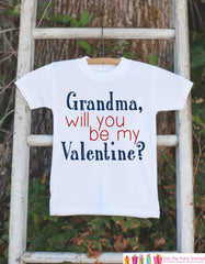 Boys Valentines Day Outfit - Grandma, Will You Be My Valentine Onepiece - Novelty Valentine Shirt for Baby Boys - Kids Valentines Day Outfit
