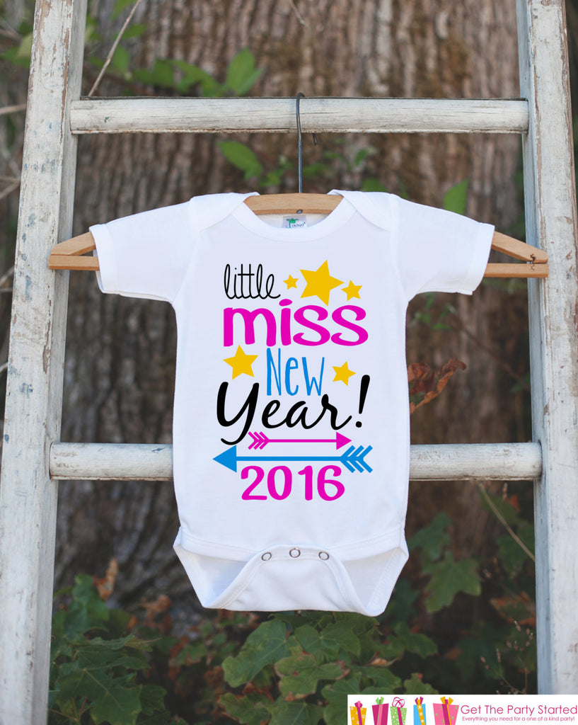 Girls New Years Outfit - Little Miss New Year 2016 - Happy New Years Eve Onepiece - Baby's First - 1st New Year Bodysuit for Baby Girls - 7 ate 9 Apparel