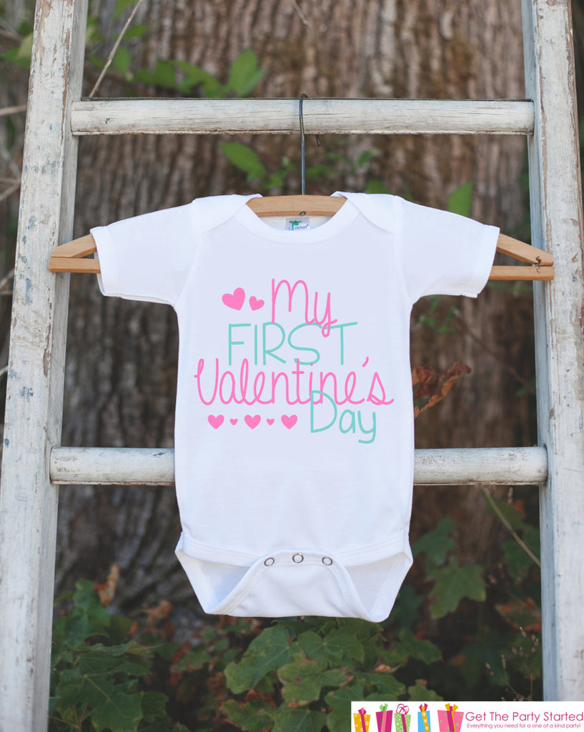 Girls Valentines Day Outfit - My First Valentines Onepiece - Pink Hearts Valentine Bodysuit for Baby Girl - Kids 1st Valentines Day Outfit - 7 ate 9 Apparel